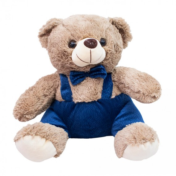Brown Teddy Bear with Bow Tie and Suspenders - 25 cm
