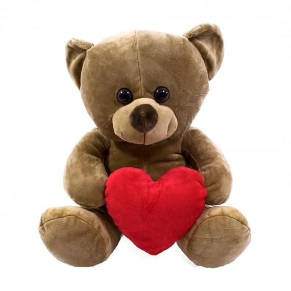 Brown Teddy Bear with Heart - 33 cm