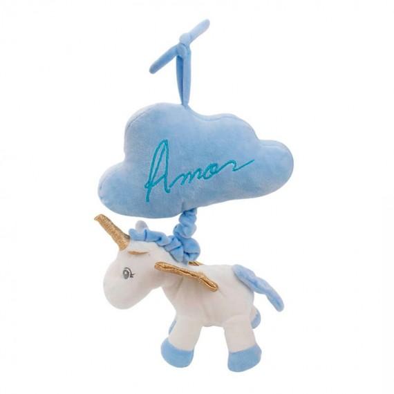 Plush Unicorn Blue Cloud Touches Sound - 27cm