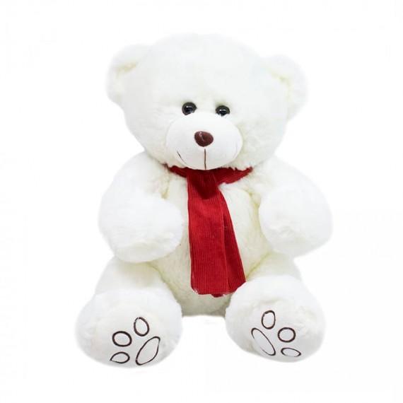 Urso de Pelúcia Branco com Cachecol Vermelho - 35cm