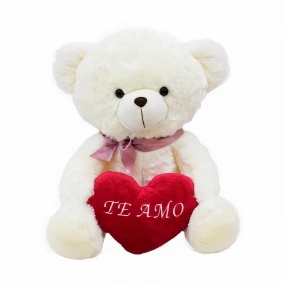 Urso Branco de Pelúcia Com Laço  e Coração Te Amo - 45cm