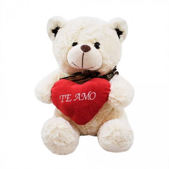 Urso Branco Coração Te Amo 40cm - Pelúcia