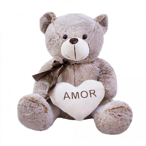 Urso Marrom Acinzentado 50cm Coração Amor  - Pelúcia