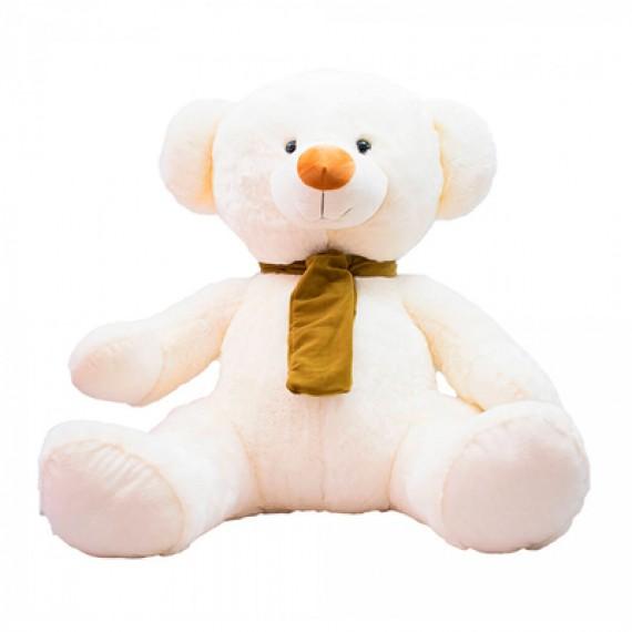 Urso de Pelúcia Branco Sentado com Cachecol - 60cm