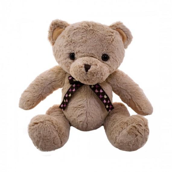 Urso de Pelúcia Marrom Com Laço de Corações - 40cm