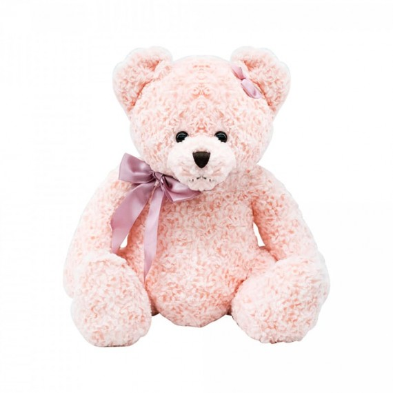 Urso de Pelúcia Rosa Com Laço - 37cm