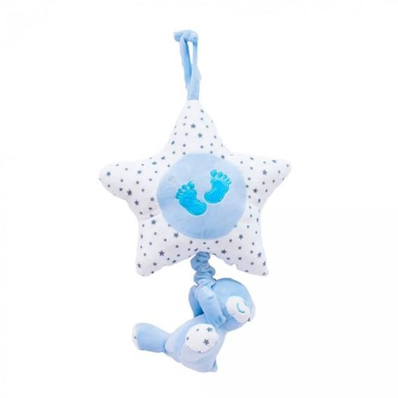 Urso e Estrela Móbile Azul 40cm