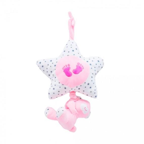 Urso e Estrela Móbile Rosa 40cm