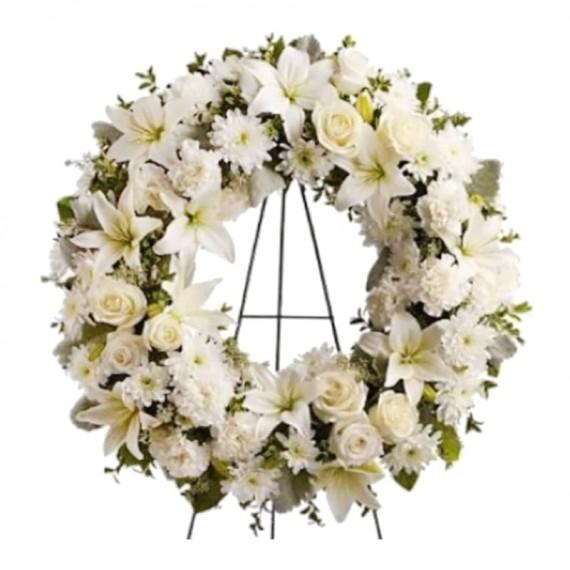 Coroa de Flores Americana Branca ou Rosa