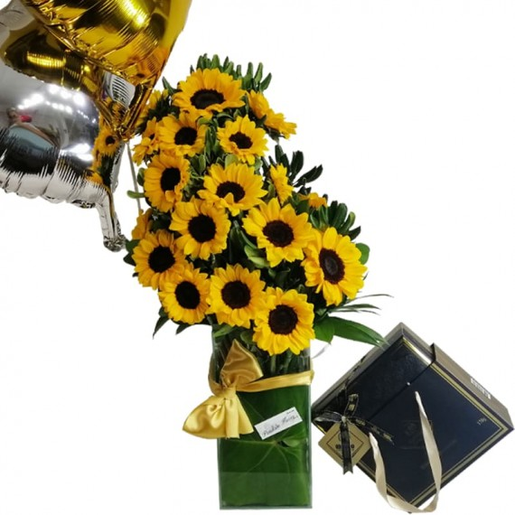 Splendid Sunflower Arrangement with Balloons and Chocolate Elit Gourmet Collection 1