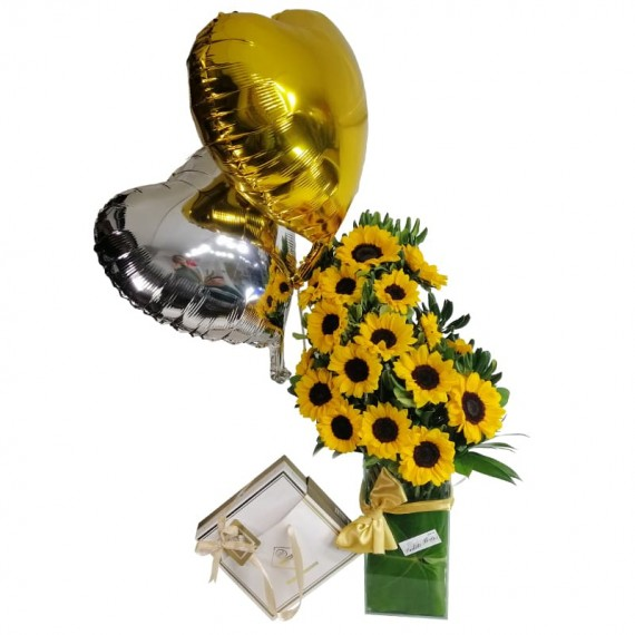 Splendid Sunflower Arrangement with Balloons and Chocolate Elit Gourmet Collection 2