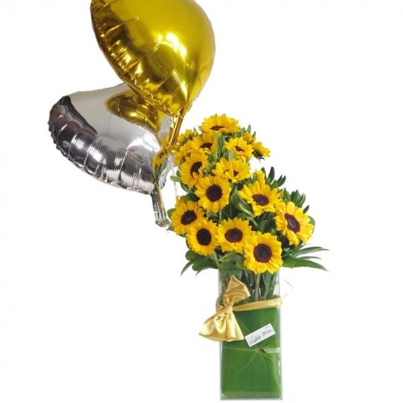 Splendid Sunflower Arrangement with Balloons