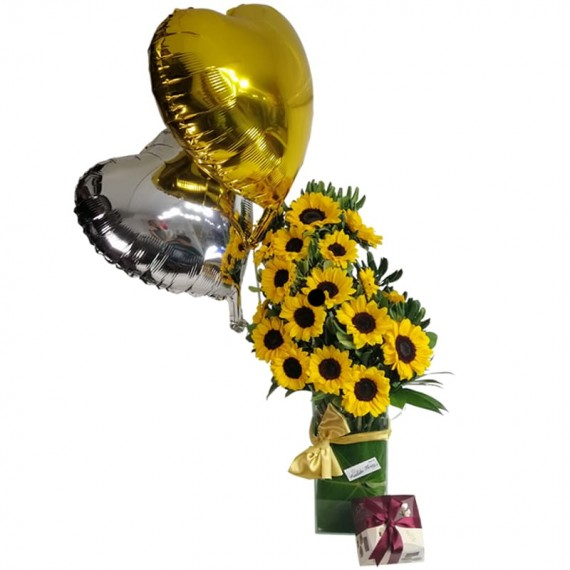 Splendid Sunflower Arrangement with Balloons and Chocolate Elit Gourmet Collection Truffle