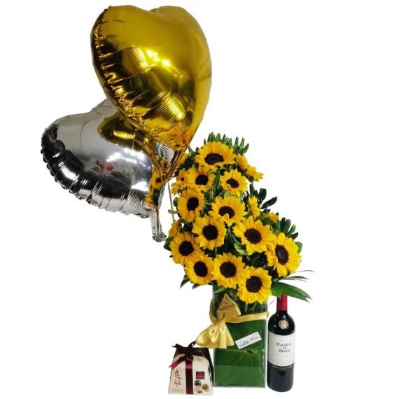 Splendid Sunflower Arrangement with Balloons. Elit Truffle Chocolates and Casillero del Diablo Wine