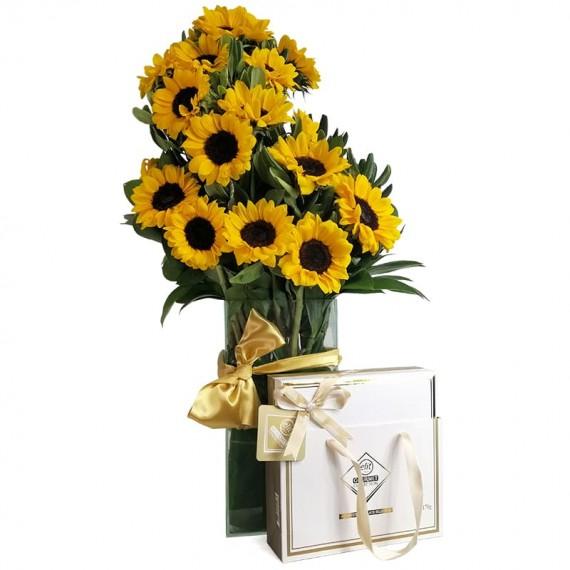 Splendid Sunflower Arrangement with Assorted Chocolates Elit Gourmet Collection in Bag 2
