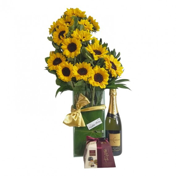 Splendid Sunflower Arrangement with Elit Gourmet Collection Chocolate Truffle and Chandon Champagne