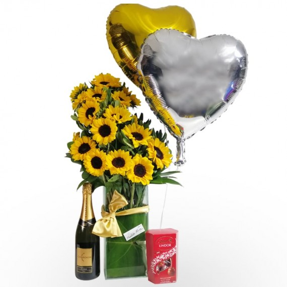 Splendid Sunflower Arrangement with Lindt Chocolate, Balloons and Chandon Champagne