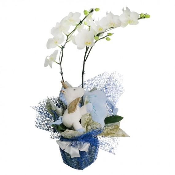 White Orchid with plush Blue Unicorn